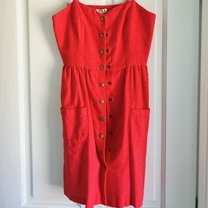 Snap front linen red dress